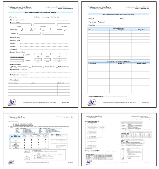 Builders products for Ohs management plan template